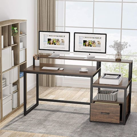 Home Office Desk with File Drawer, Computer Desk with Hutch, Storage Shelves, Printer Cabinet and Monitor Shelf