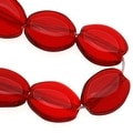 Czech Glass 8 x 6mm Flat Smooth Oval Dark Ruby Red (25) - Thumbnail 0