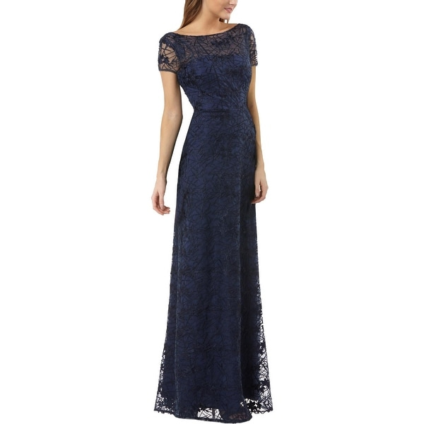 JS Collections Womens Evening Dress Lace Embroidered - Navy