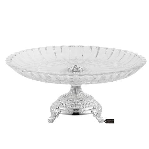Matashi Crystal Cake Plate Centerpiece Decorative Dish, Round Serving Platter with Silver Plated Pedestal Base for Weddings