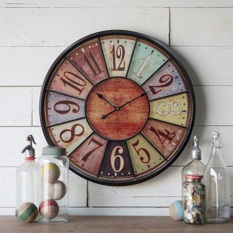 23 inch-Metal/Wood Wall Clock - 1.75 x 23.5 x 23.5