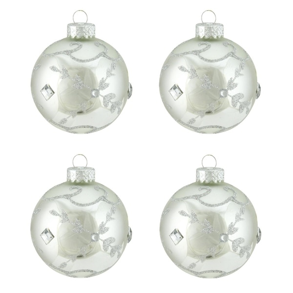 "4ct Winter Light Shiny Silver with Glitter Leaf Design Glass Ball Christmas Ornaments 2.5"" (65mm)"