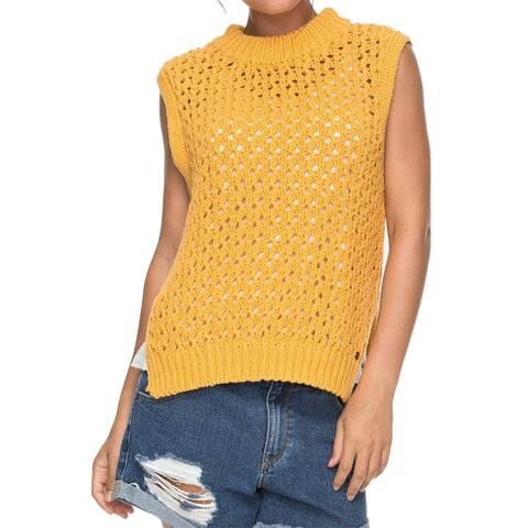 Roxy Bright Yellow Women's Size XS Crewneck Crochet Sleeveless Sweater
