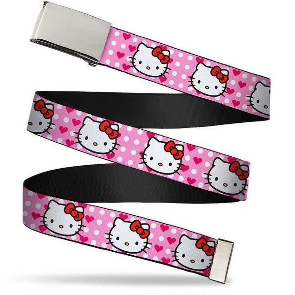 Blank Chrome Bo Buckle Hello Kitty W Dots & Hearts Baby Pink White Web Belt
