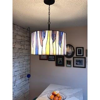 "BAROSSA 18""ø Tiffany 3-Light Pendant Lamp-Blue/Purple"