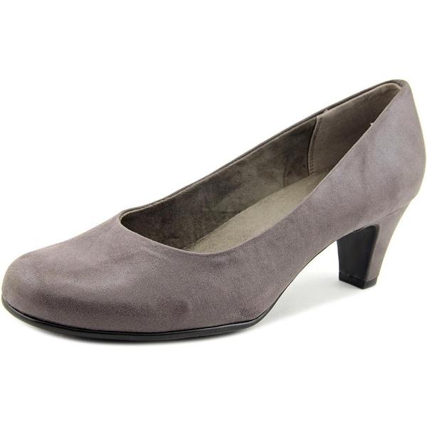 Aerosoles Nice Play Women W Round Toe Canvas Gray Heels