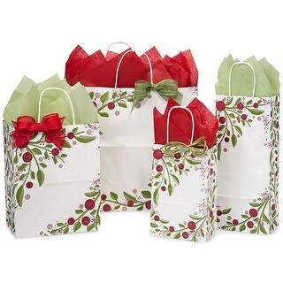 Pack of 150, Floral Tuscan Christmas Bag Assortment 50 Rose & Cub, 25 Wine & Filly 100% Recyclable,