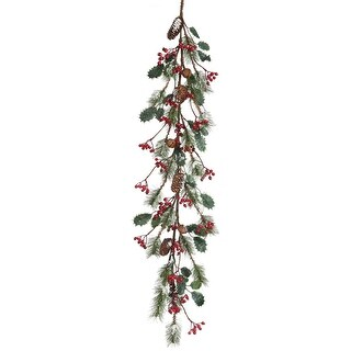"Frosted Skip Pine W/Berry/Holly Garland 48""-"