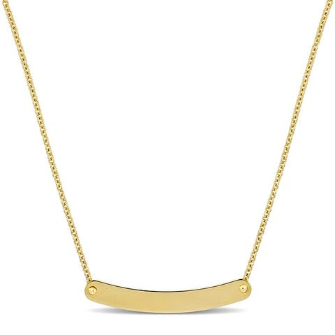 Miadora Engravable ID Bar Necklace in 14k Yellow Gold