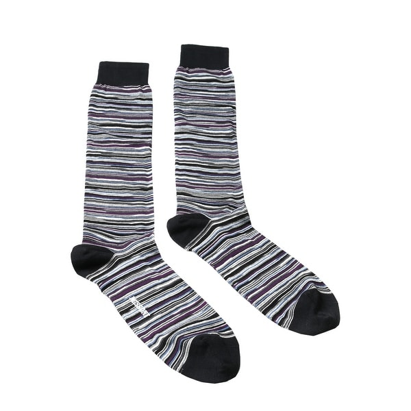 Missoni GM00CMU5694 0002 Gray/Purple Calf Length Socks - Grey