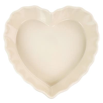 Martha Stewart 11in Heart Shaped Stoneware Cake Pan in Light Peach