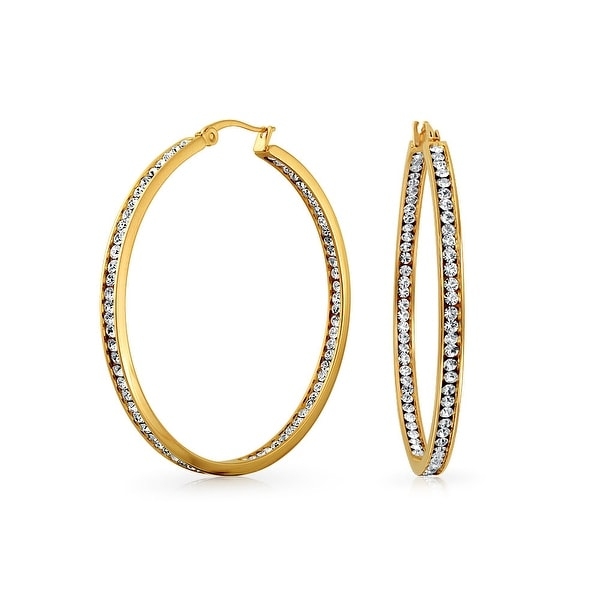 Shop Round Channel Set CZ Inside Out Large Hoop Earrings Finish For Women  Gold Plated Stainless Steel 2 In Dia - Free Shipping On Orders Over  45 - -  ... 64b28c632a06
