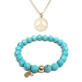 "Turquoise Magnesite 7"" Bracelet & Peace Sign Gold Charm Necklace Set"