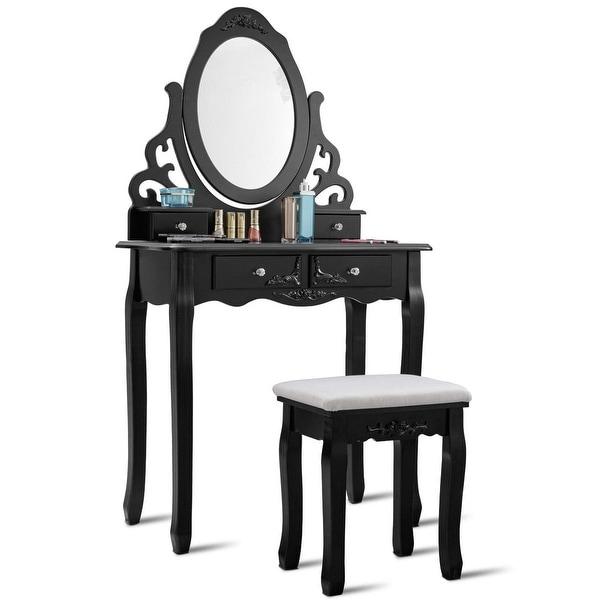 Vanity Makeup Dressing Table Stool Set-Black