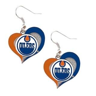 Edmonton Oilers Swirl Heart Earring NHL Dangle Logo Charm Gift