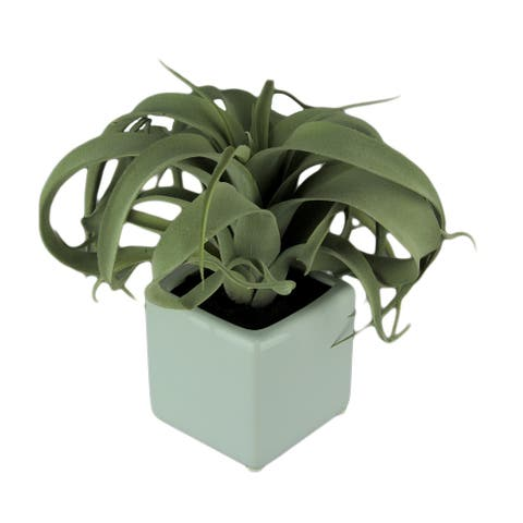 Artificial Air Plant in Decorative Cement Planter 15 inch - 9.5 X 10 X 9.5 inches