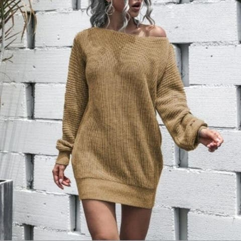 Women's Sweater Casual Bat Wing Sleeve One Shoulder Pullovers Sweater