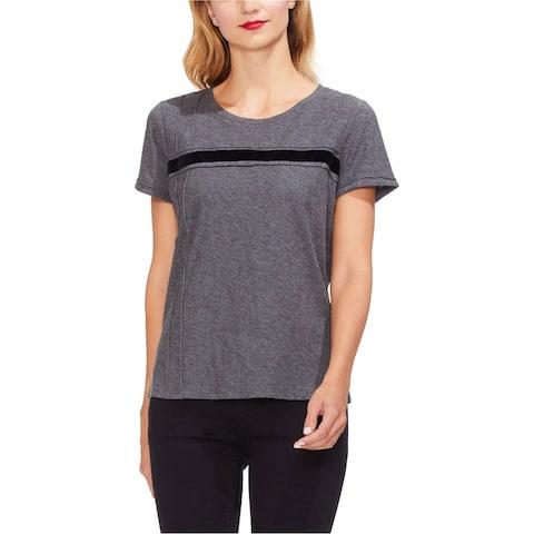 Vince Camuto Womens Velvet Stripe Embellished T-Shirt, Grey, X-Small