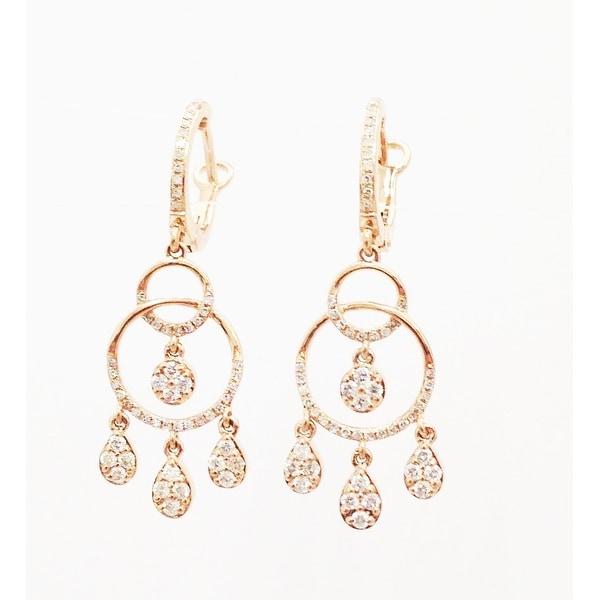 14K PINK GOLD CHANDELIER DIAMOND EARRINGS