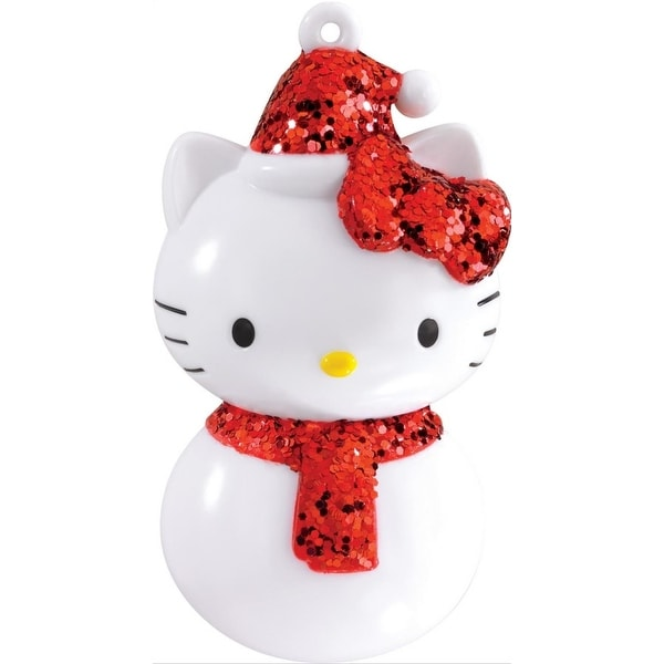 """3.25"""" Carlton Cards Heirloom Red Glittered Hello Kitty Christmas Ornament"""