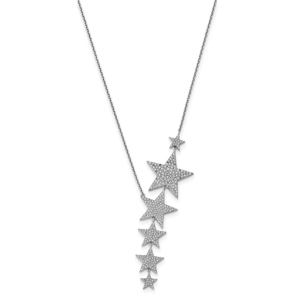 Sterling Silver Cubic Zirconia 16-inch with 2-inch Extension Star Necklace by Versil (White - 16 Inch - White)