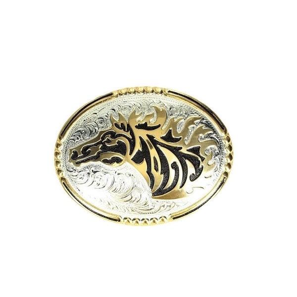 Crumrine Western Belt Buckle Horsehead Mane Rope Silver Gold - 3 x 4