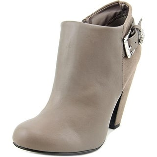 Bamboo Mozza-11 Women Round Toe Leather Tan Bootie