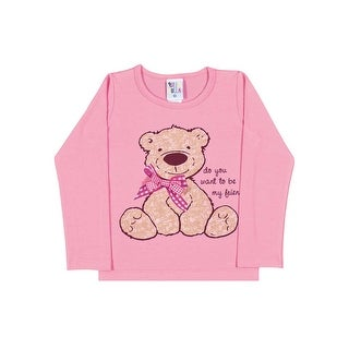Toddler Girl Shirt Long Sleeve Bear Graphic Tee Pulla Bulla Sizes 1-3 Years