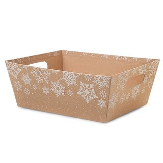"""Pack Of 3, Kraft Snowflakes X-Large Wide Base Market Tray 8 X 10"""" X 4.5"""" For Gourmet Gift Baskets, Food Baskets"""