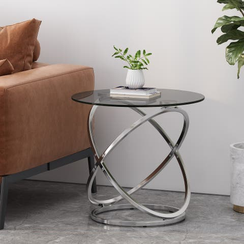 "Silvia Modern Glass Top Round Side Table by Christopher Knight Home - 24.00"" L x 24.00"" W x 21.50"" H"