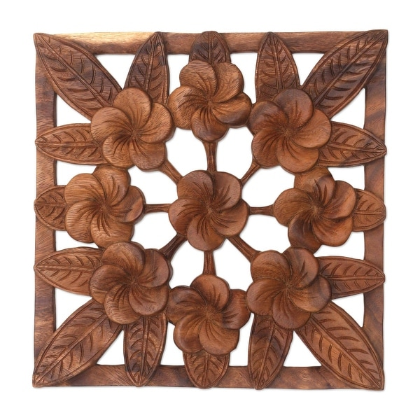"""Handmade Interconnected Jepun Wood Relief Panel (Indonesia) - 11.75"""" L x 11.75"""" W x 0.8"""" D. Opens flyout."""