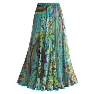 Women's Verona Teal Striped Peasant Skirt