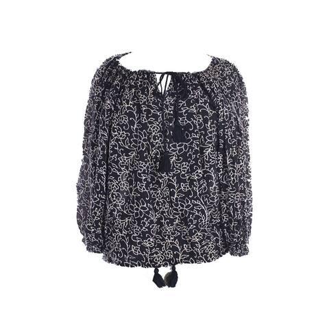 Denim Supply Ralph Lauren Brown Puff-Sleeve Floral-Print Tunic XS