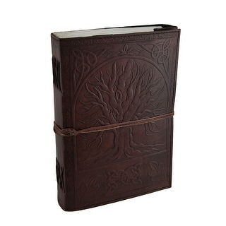 Large Embossed Leather Celtic Tree Of Life 184 Leaf Diary Journal - brown