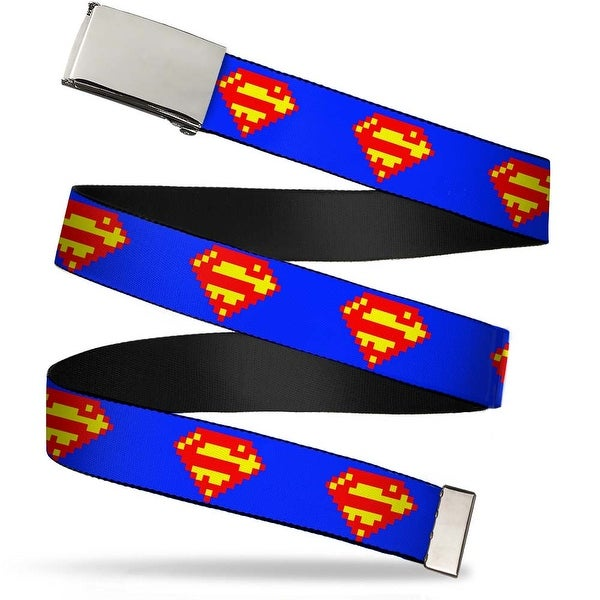 Blank Chrome Buckle Superman Shield 8 Bit Blue Webbing Web Belt
