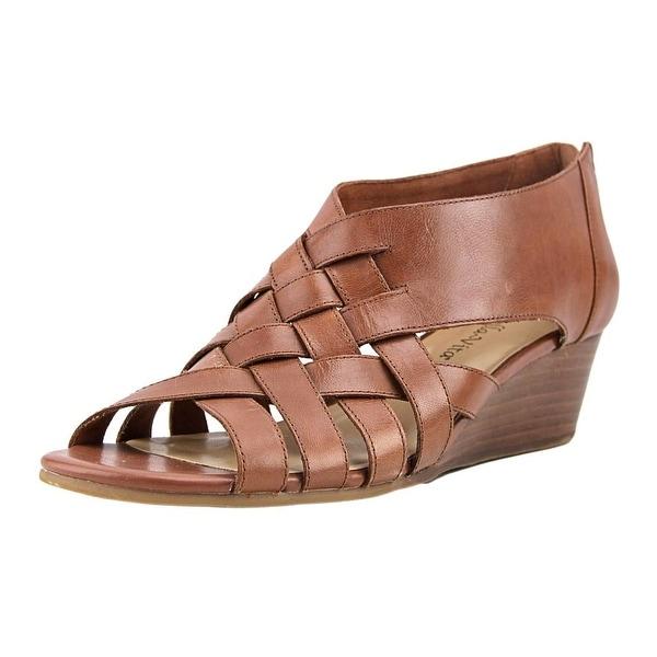 Bella Vita Isabelle Women W Open Toe Leather Tan Wedge Sandal