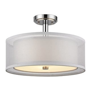 """Dolan Designs 1275 Double Organza 16"""" Wide 3 Light Single Semi-Flush Ceiling Fixture with Dual Drum Shades"""