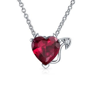 Bling Jewelry .925 Silver Red CZ Red Heart Devil Necklace 16 Inches