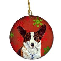 Corgi Red Snowflake Holiday Christmas Ceramic Ornament