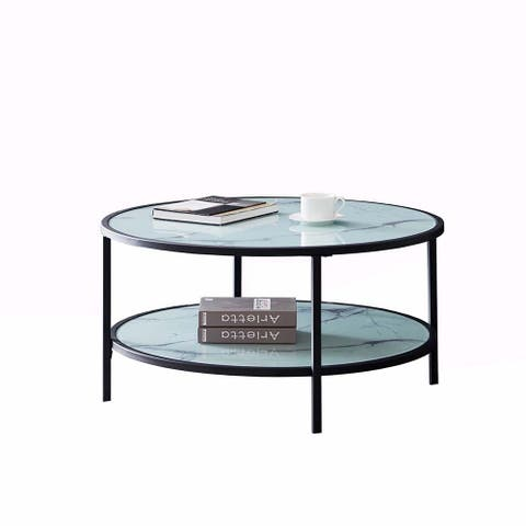 Glass coffee table with large storage space - 8' x 10'