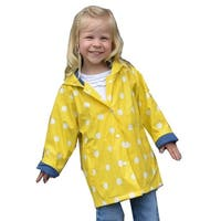 Foxfire Little Girls Yellow White Polka Dotted Print Trendy Raincoat 1T-6