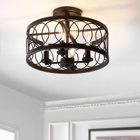 Sylvain Metal/Oil Rubbed Bronze LED Semi-Flush Mount by JONATHAN Y
