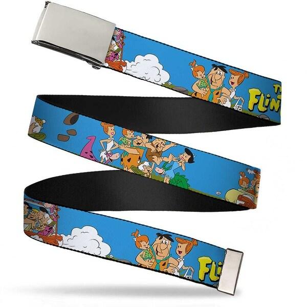 Blank Chrome Buckle The Flintstones And Rubbles Group Pose Logo Blue Web Belt