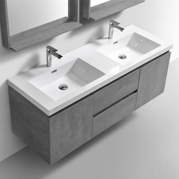 Alma-Pre 60 inch Double Sink Wall Mount Vanity. Opens flyout.