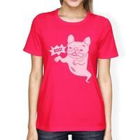 Boo French Bulldog Womens Hot Pink Tee Funny Halloween T-shirt