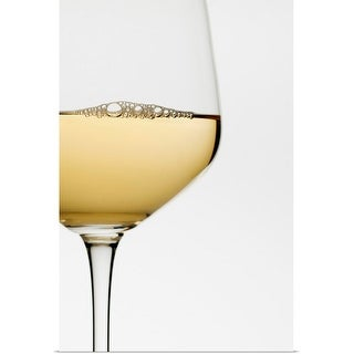 """""""Close up of glass of white wine on white background"""" Poster Print"""