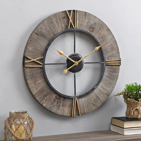 FirsTime & Co. Gray Farley Rustic Clock, Wood