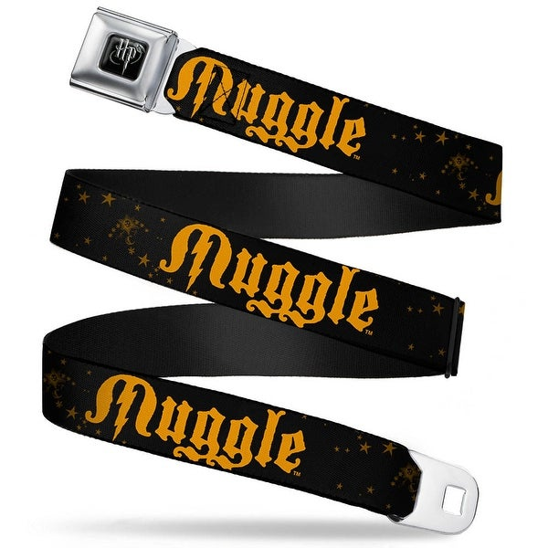 Harry Potter Logo Full Color Black White Muggle Stars Black Gold Webbing Seatbelt Belt