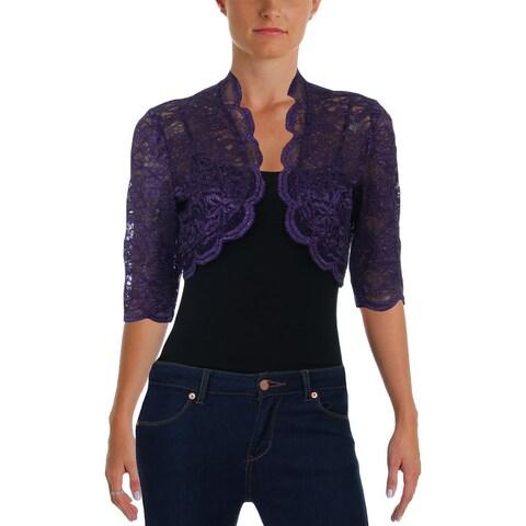 R&M Richards Womens Petites Bolero Lace Glitter - 6P