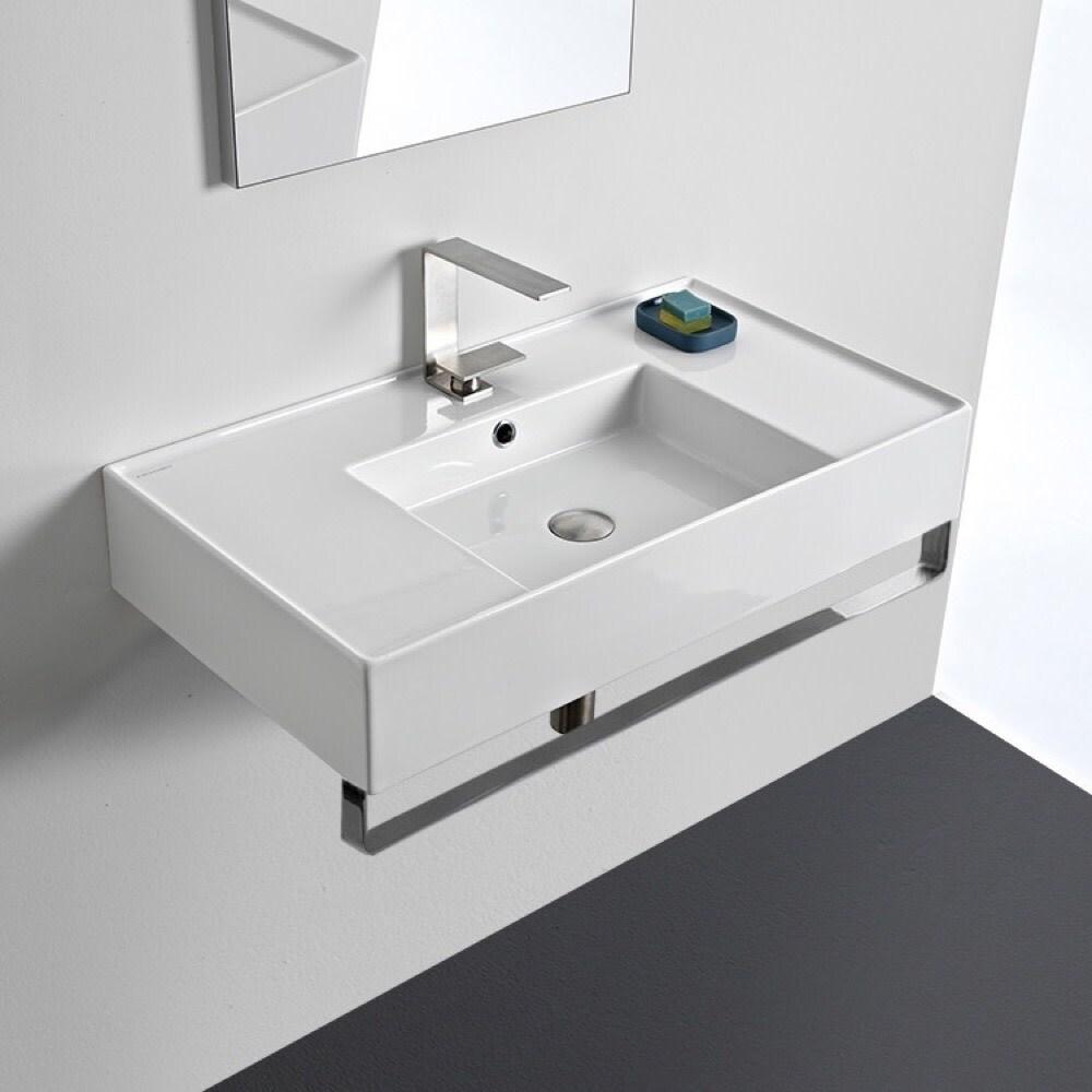 Nameeks Scarabeo 5123 Tb Teorema 2 0 32 Rectangular Ceramic Wall Mounted Bathroom Sink With Overflow And Towel Bar